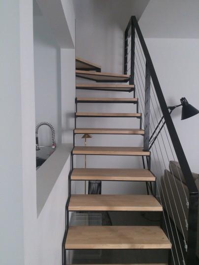 escalier métallique marche en bois lyon